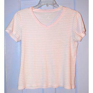 Classic Nautica Pink/White Striped V-Neck T size M